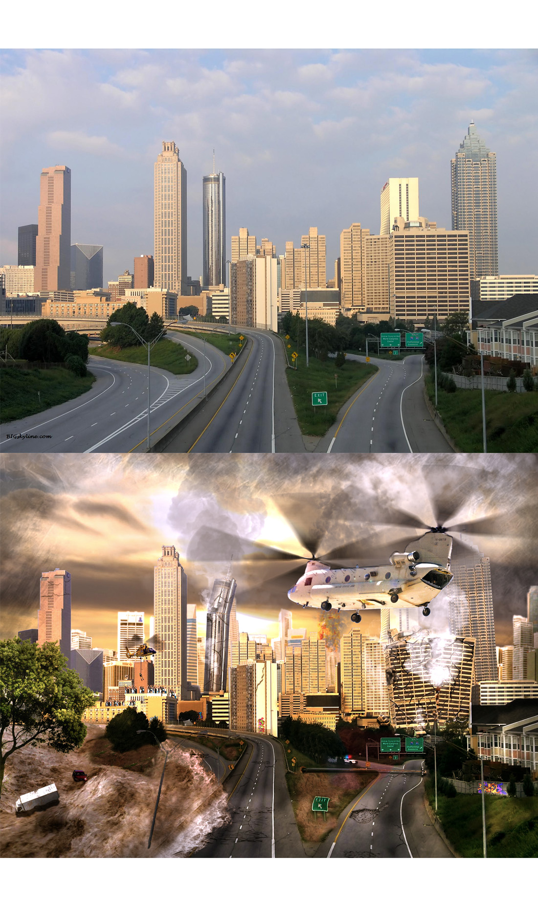 Before and after.  This was a matte painting that sourced from many different photos to create a dystopian cityscape in the midst of disaster.