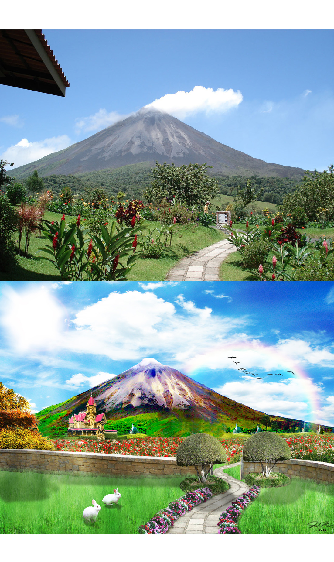 Before and after.  This was a matte painting that sourced from many different photos to create one beautiful wonderland.